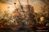 Combate entre un galeón español y dos galeras turcas, óleo de Juan de la Corte, Museo Naval de Madrid