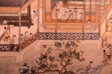 Mujeres ociosas de clase alta de una antigua dinastía. Fragmento de pintura en rollo horizontal de papel de arroz sin firmar, comienzos del periodo Quing
