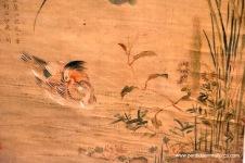 Patos mandarines con lotos, Zhou Zhimian, finales del periodo Ming.